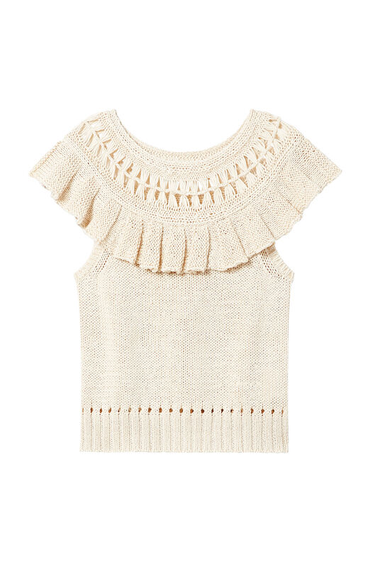 La Vie Short Sleeve Tape Yarn Pullover