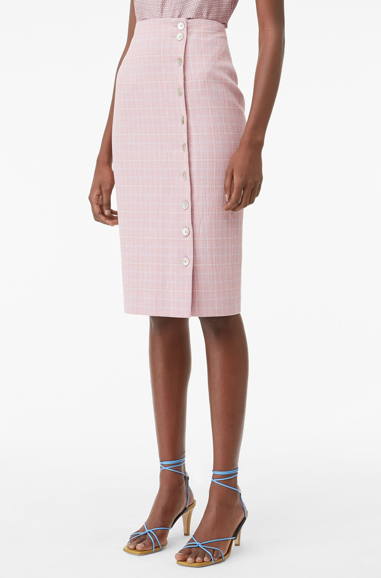 Tailored Rose Plaid Suiting Skirt, , large