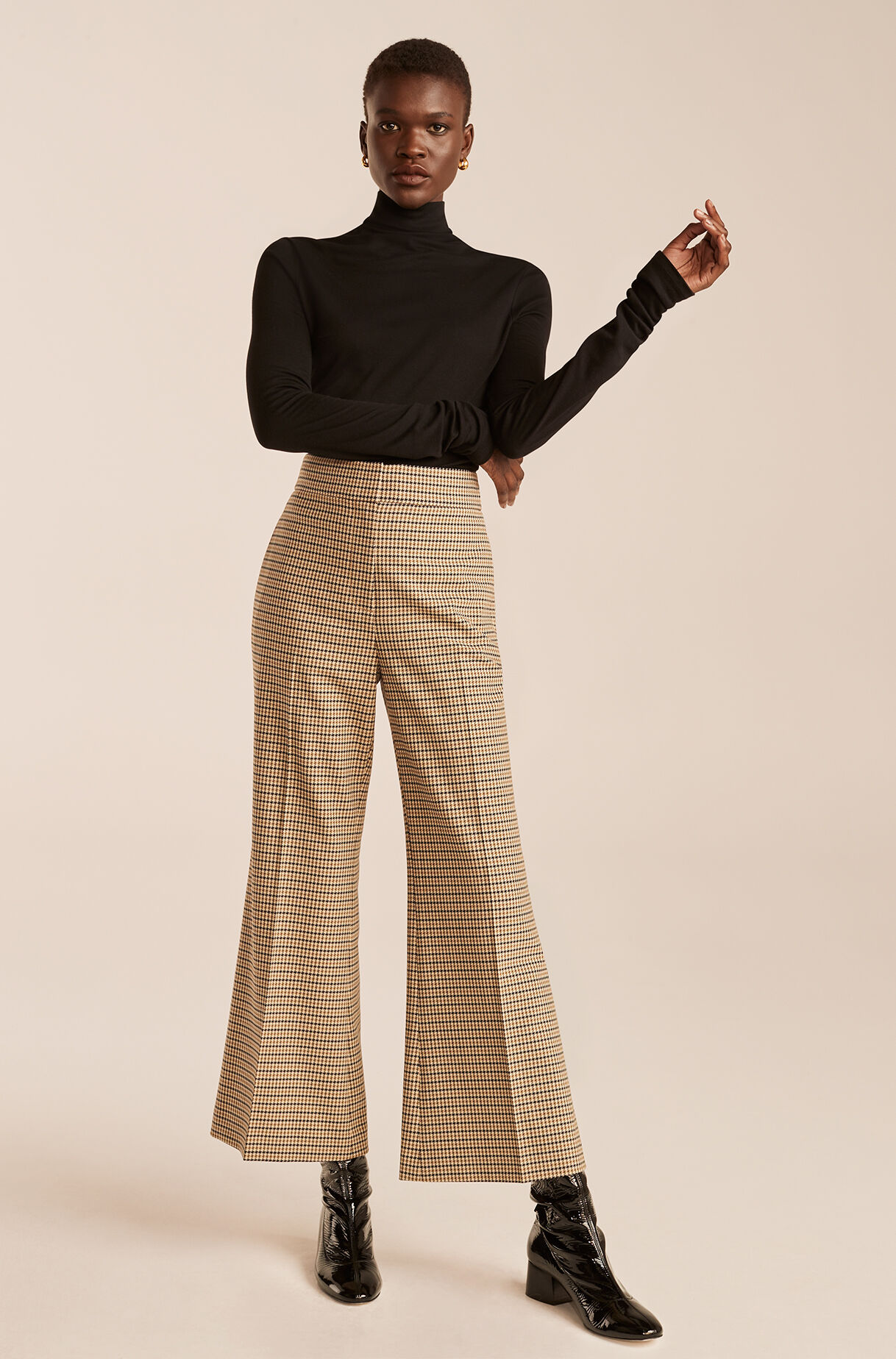 Houndstooth Cropped Flare Trouser-MilitaryGreenCombo