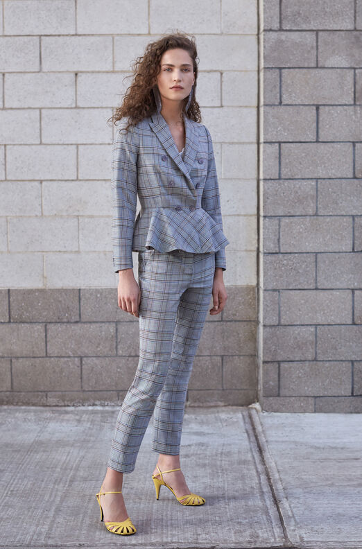 Tailored Plaid Suiting Peplum Jacket