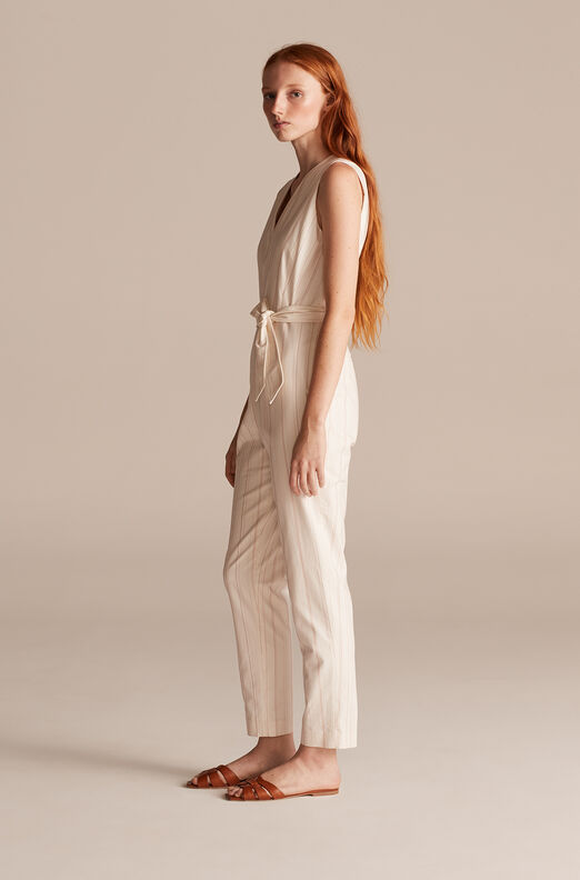 Tailored Stitched Stripe Jumpsuit, Snow Combo, large