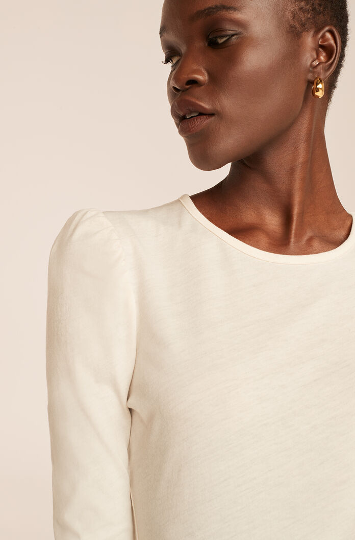 Ruched Long Sleeve Knit Top, Milk, large