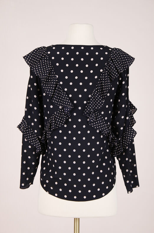 ReCollect Dot Print Ruffle Top