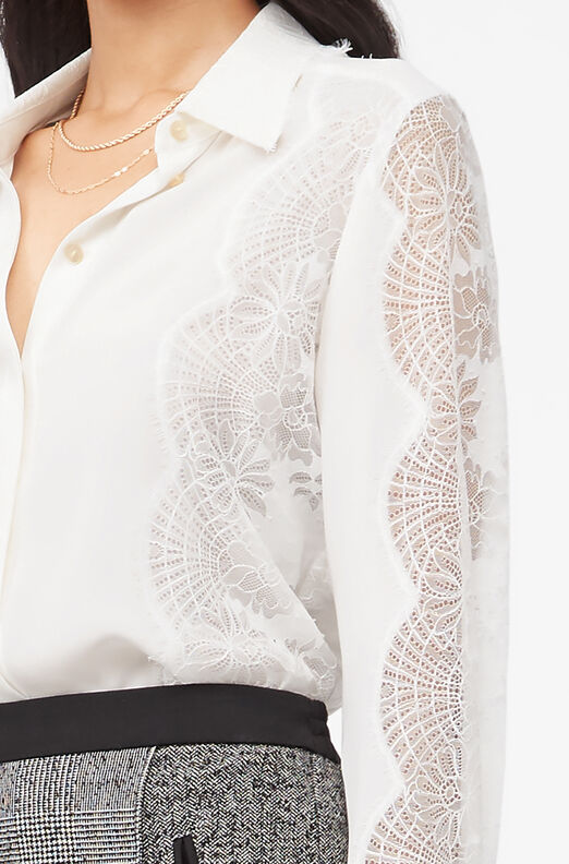 Tailored Silk Double Georgette & Lace Top