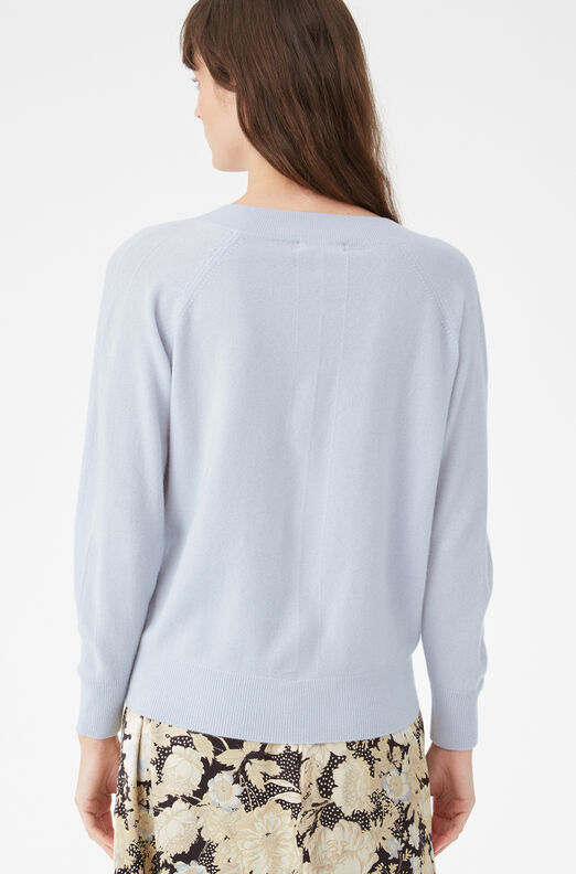 Cashmere V-Neck Pullover, Echo Blue, large