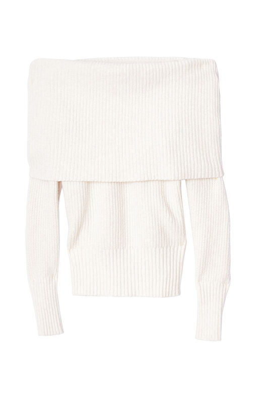 Off-The-Shoulder Cozy Wool Pullover