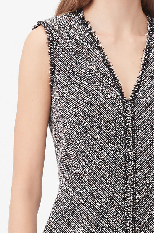 Tailored Static Tweed V-Neck Dress