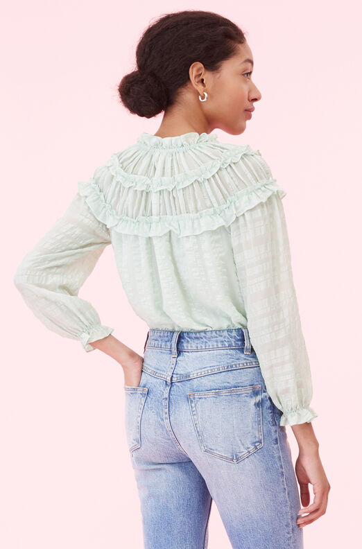 Silk Satin Stripe Ruffle Top