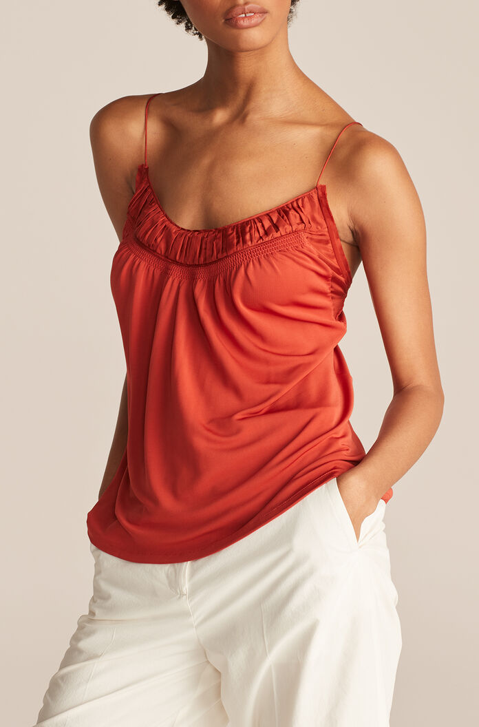 Ruched Top Knit Tank, Pomodoro, large