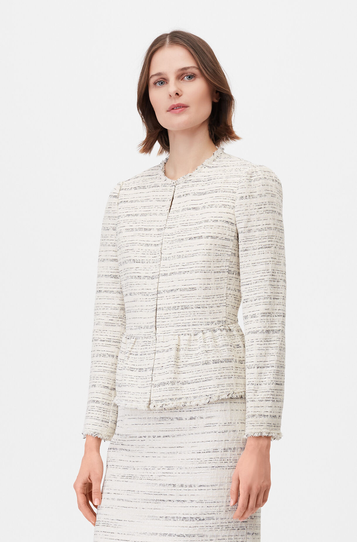 Tailored Textured Tweed Peplum Jacket