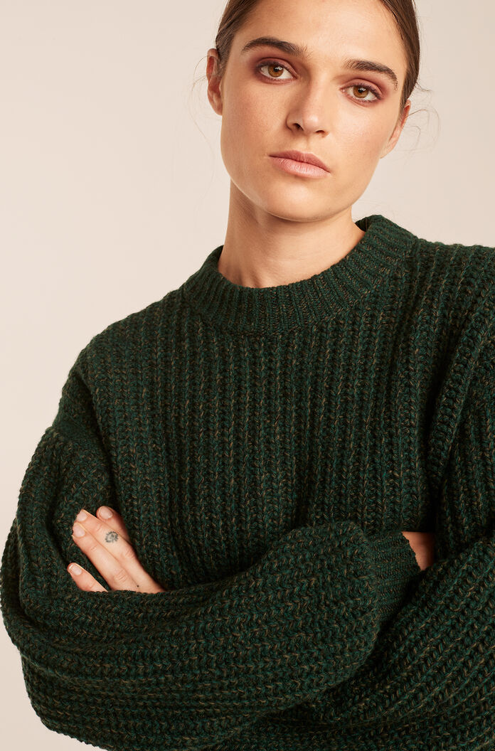 Textured Tweed Pullover, Forest Tweed, large