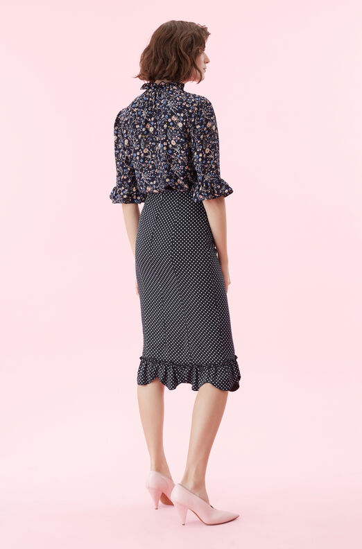 Dot Print Ruffle Skirt