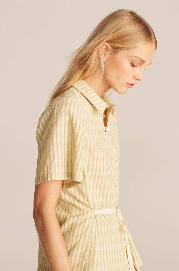 Textured Stripe Tie Front Shirt, Lime, large