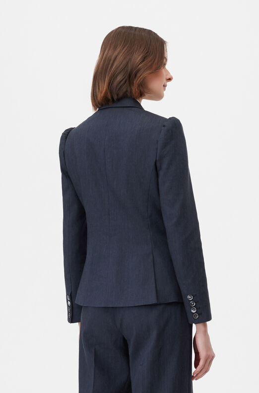 Tailored Stretch Linen Blend Jacket