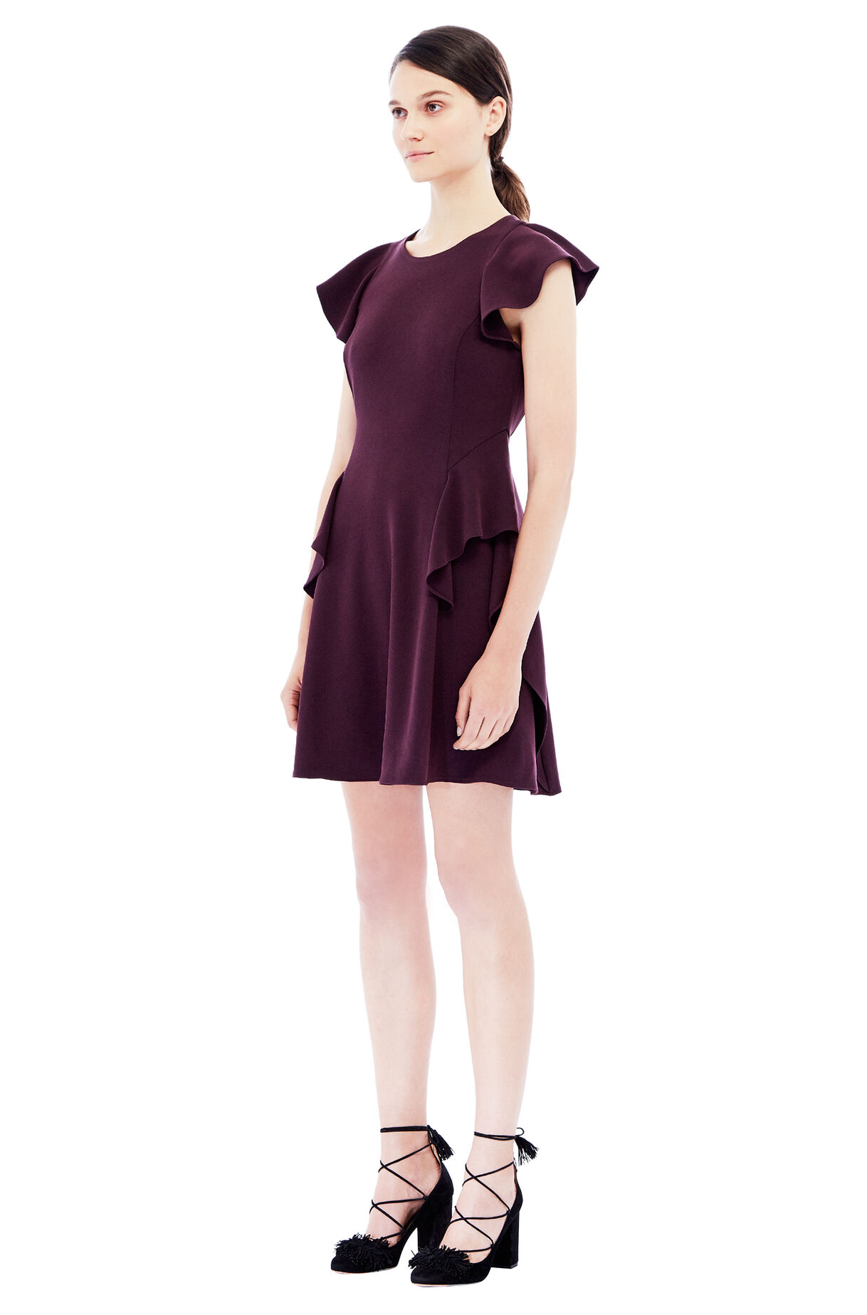 Short Sleeve Crepe Ruffle Dress Rebecca Taylor