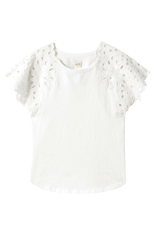 La Vie Embroidered Clean Jersey Tee