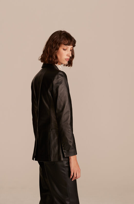 Leather Blazer, Black, large