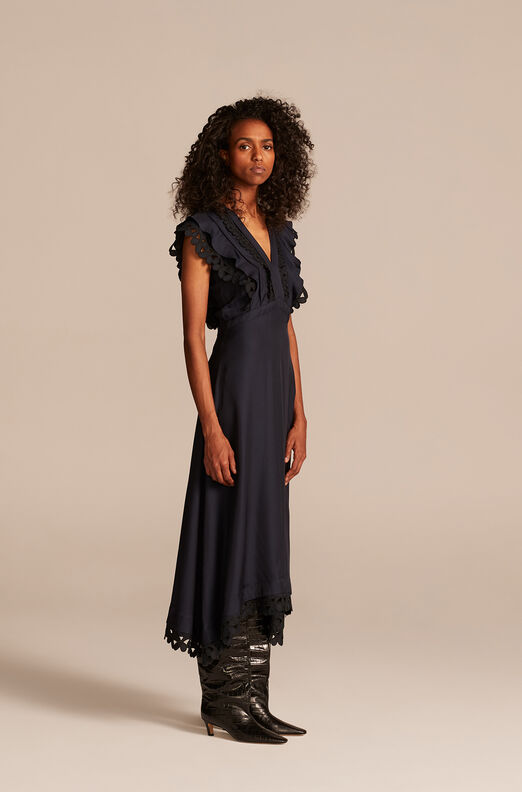 Embroidered Silk Dress, Dark Navy, large