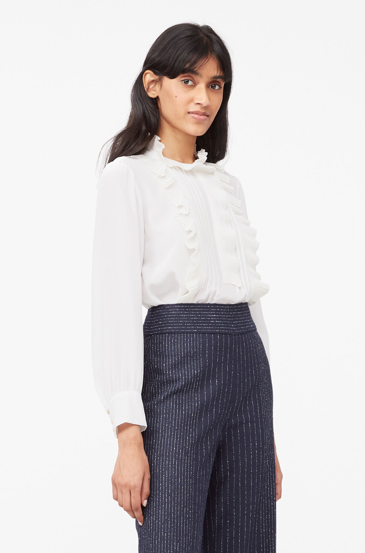 Tailored Silk Ruffle Top, Snow, large