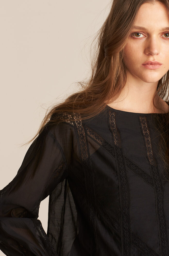 Long Sleeve Cotton Organza Blouse, Black, large