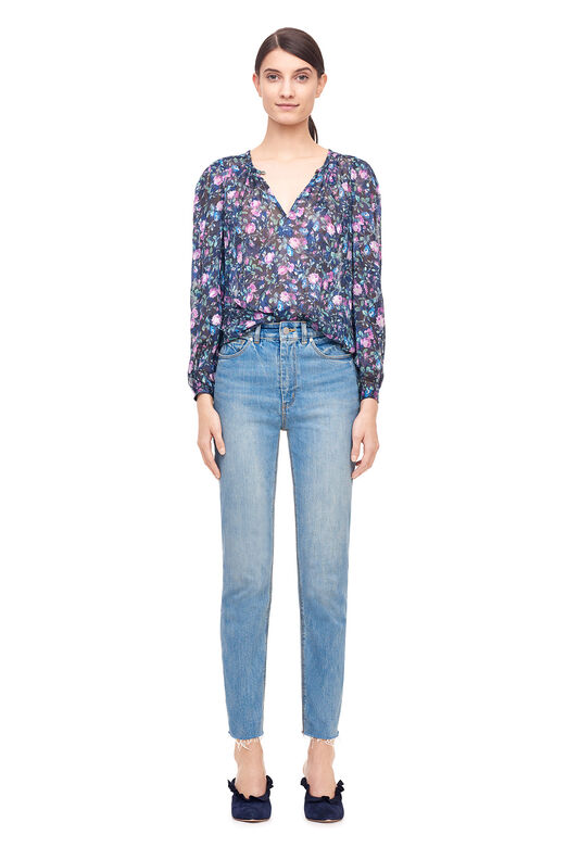 Ruby Floral Silk Jacquard Top - Dark Navy Combo