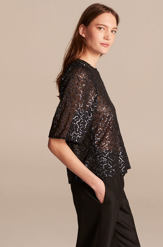 Cleo Sequin Top, Black Combo, large