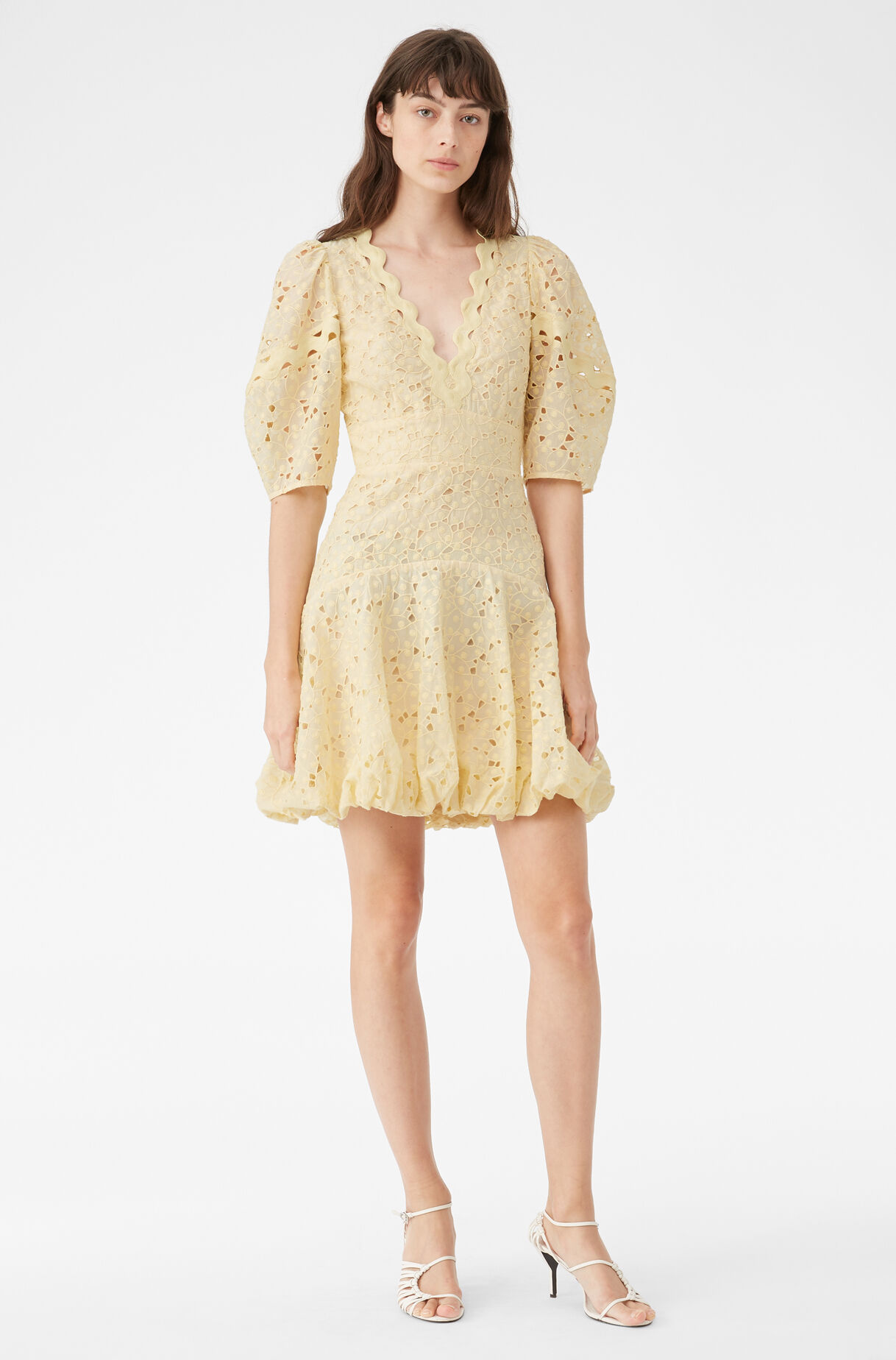 Audrey Eyelet V-Neck Dress, Citron Combo, large