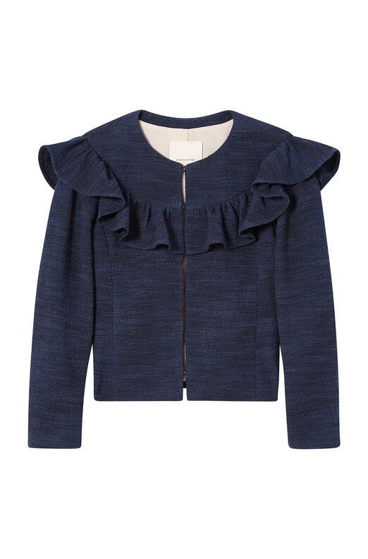 Stretch Tweed Ruffle Jacket