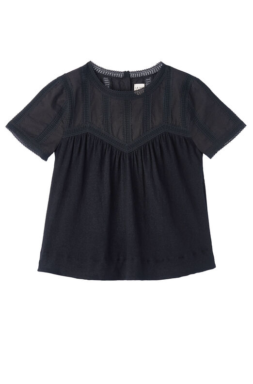 La Vie Textured Jersey Tee with Lace