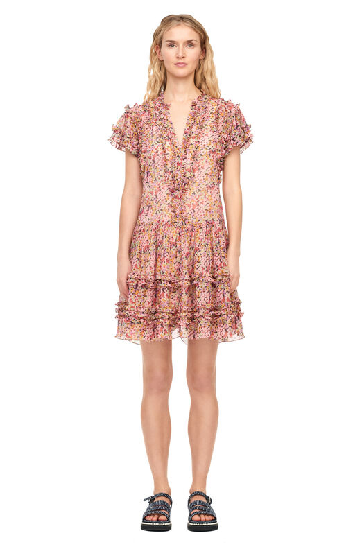 Margo Floral Silk Cotton Voile Dress - Multi Combo