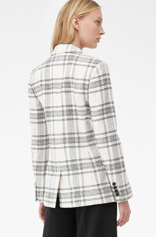 Tailored Windowpane Plaid Tweed Jacket, Cream/black, large