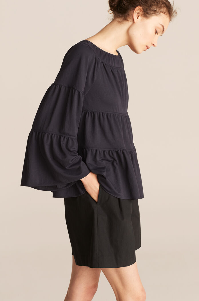 Tiered Pique Top, Midnight, large