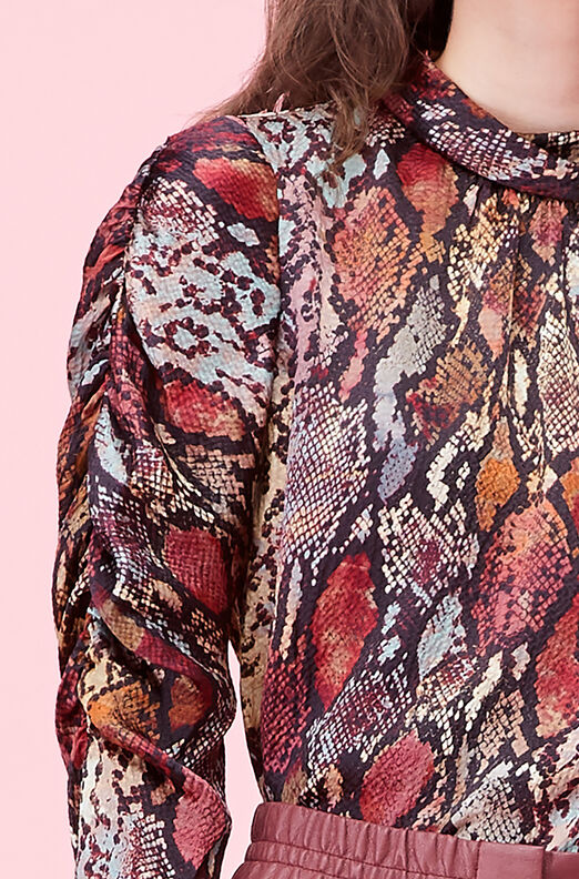 Watercolor Snake Hammered Silk Top