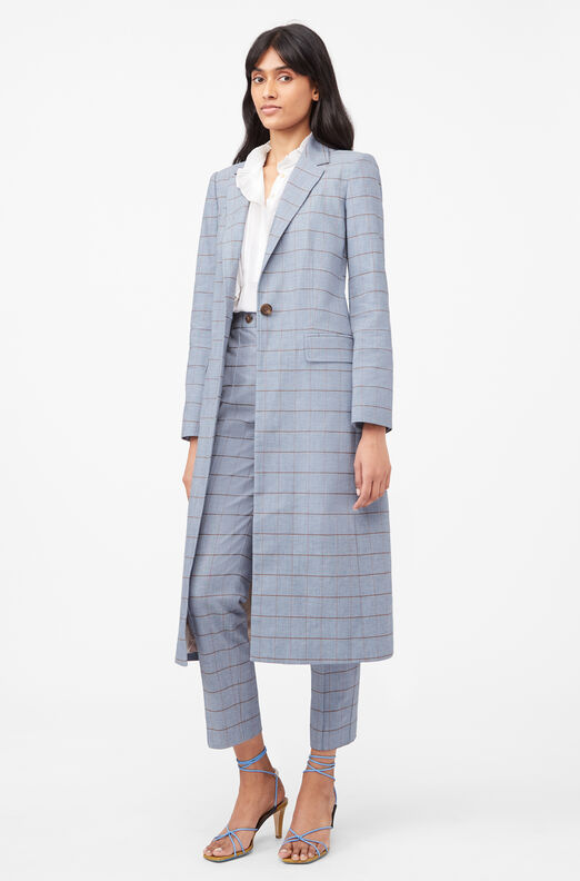 Tailored Windowpane Twill Blazer, Pacific Combo, large