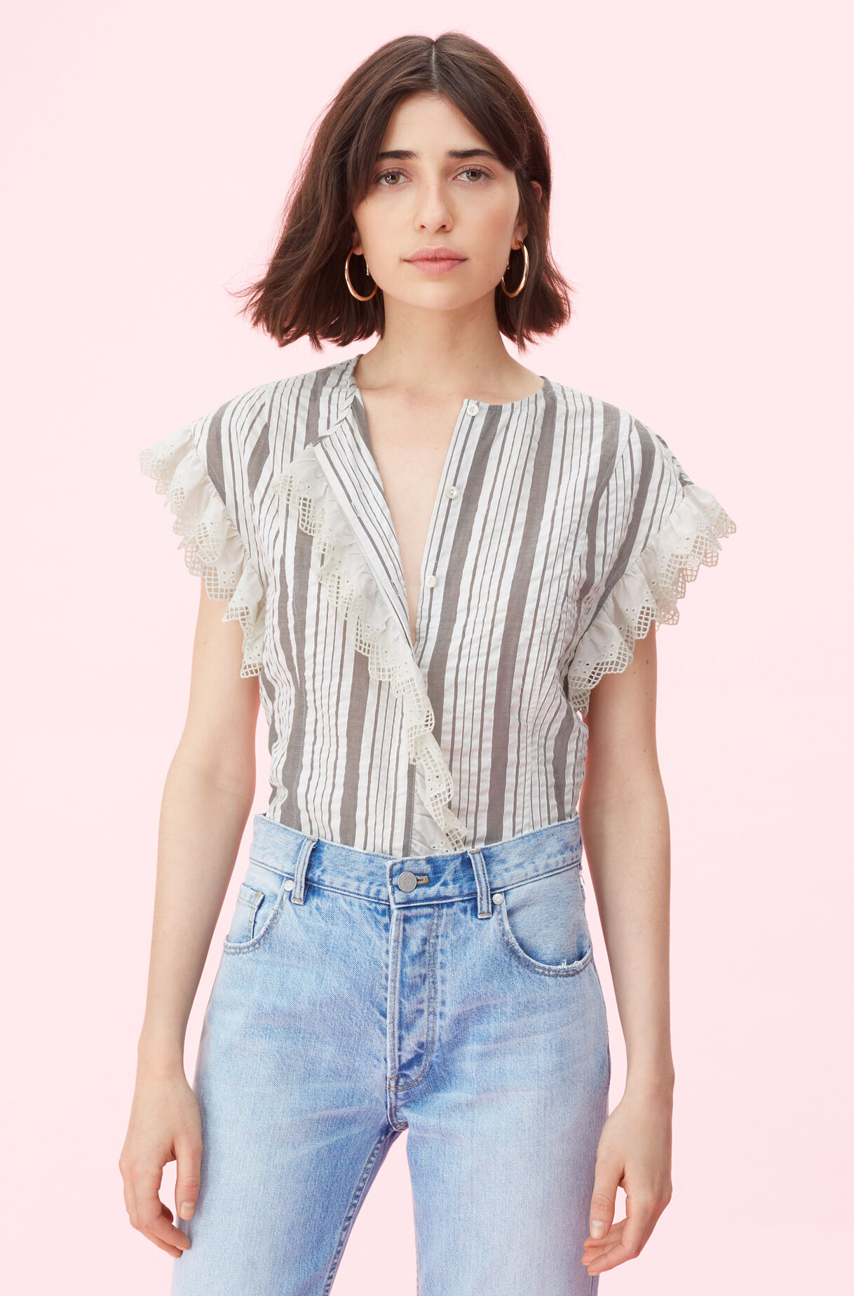 La Vie Corded Stripe Top With Eyelet, , large