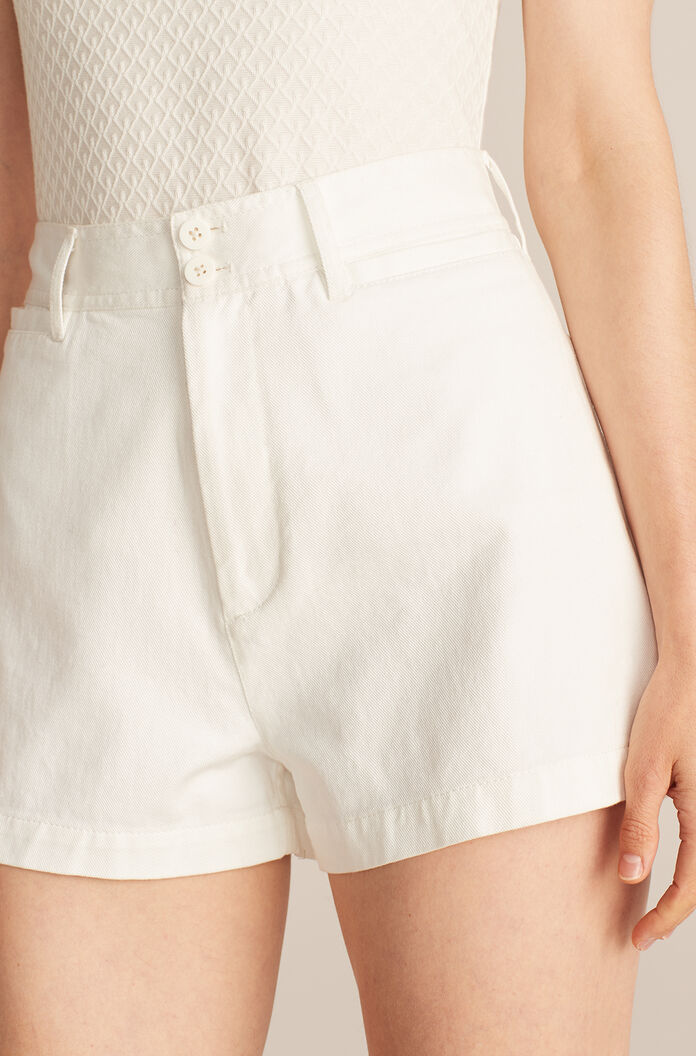 Solid Twill Short, White, large