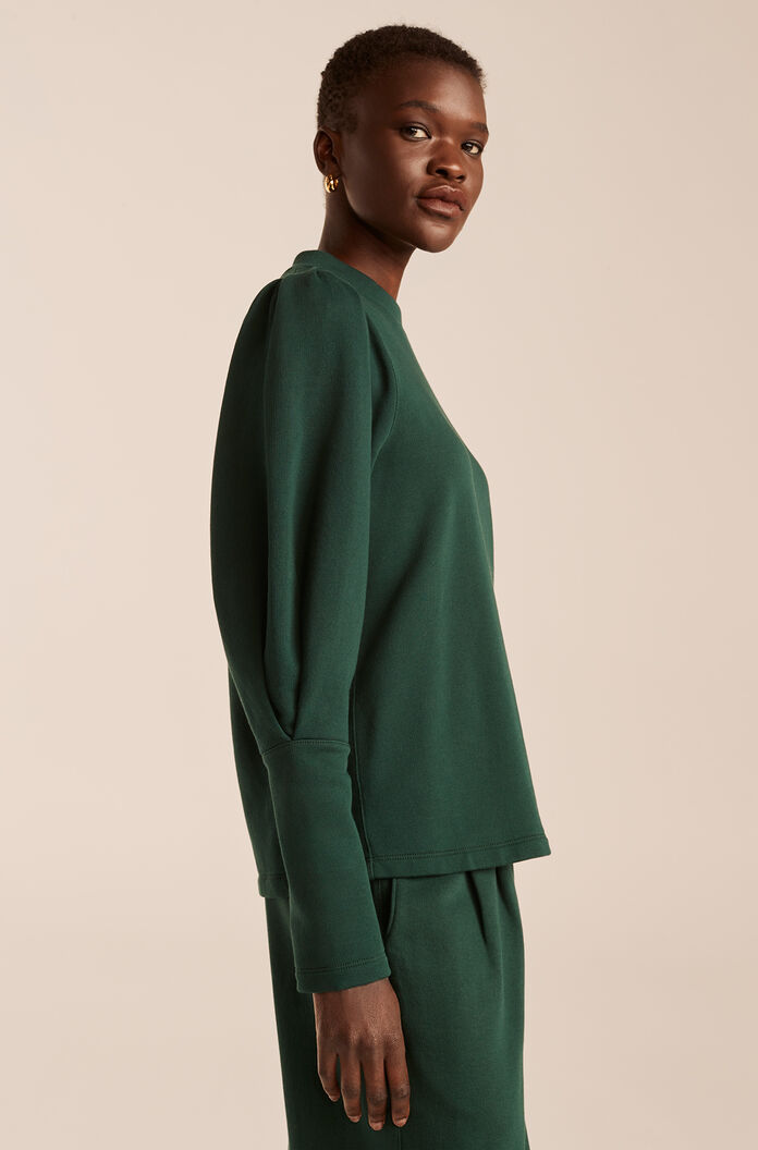 Puff Sleeve Knit Top, Emerald, large