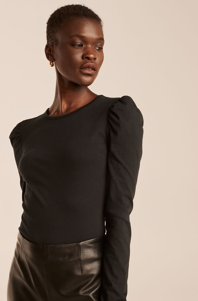 Ruched Long Sleeve Knit Top, Black, large
