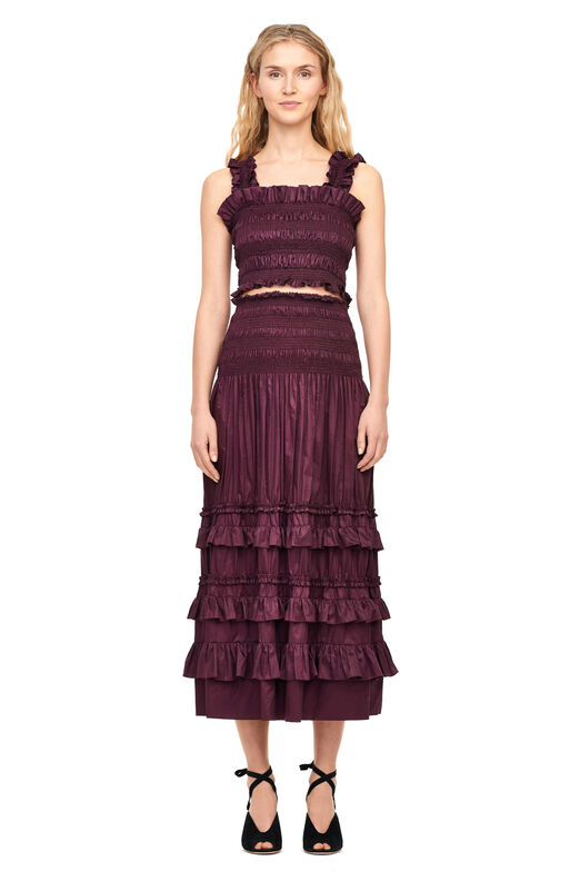 Cotton Sateen Smocked Skirt - Plum