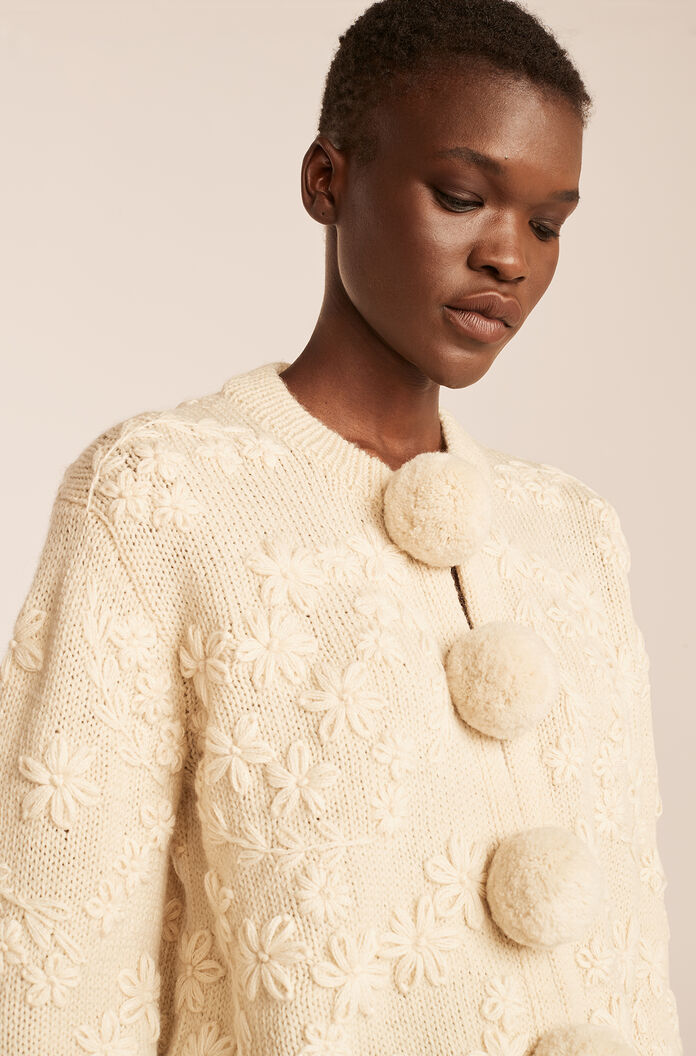 Hand Embroidered Floral Cardigan-Ivory