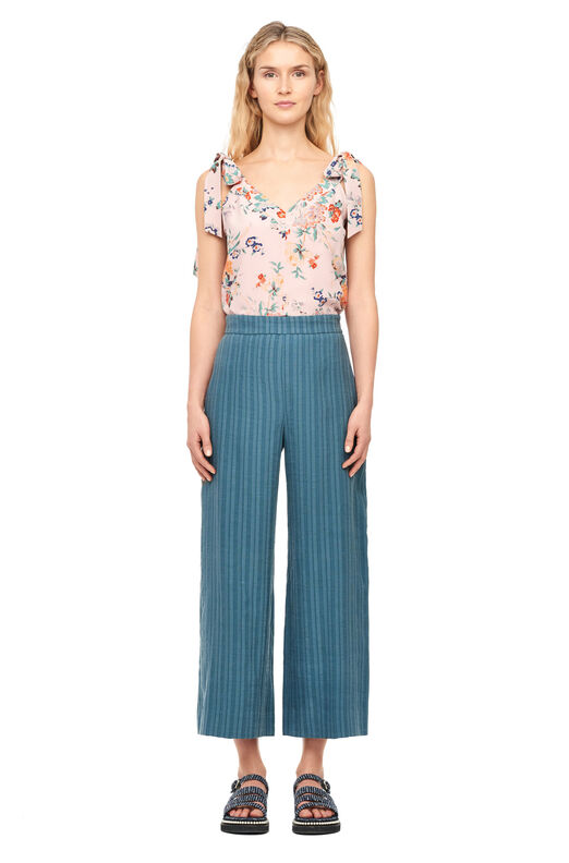 Textured Stripe Wide Leg Crop Pant - Sea Glass