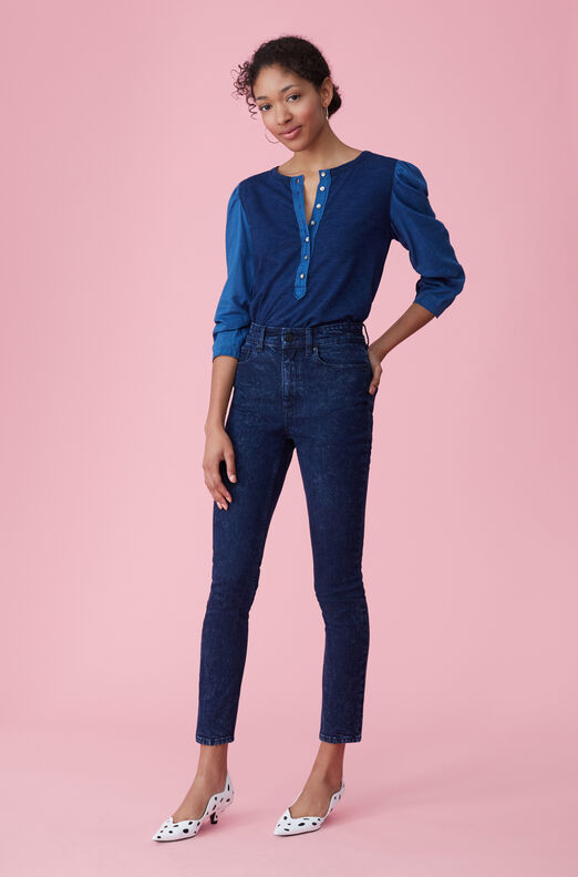 La Vie Tissue Denim & Indigo Jersey Top