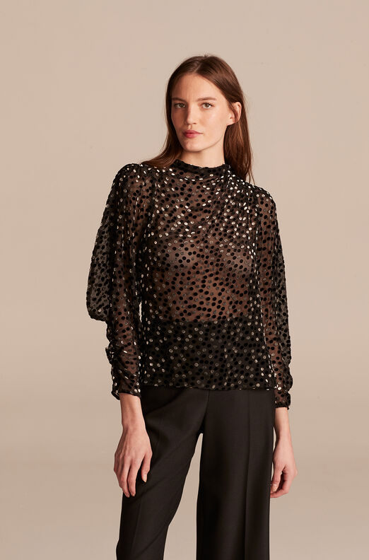 Velvet Dot Turtleneck Top, Black Combo, large