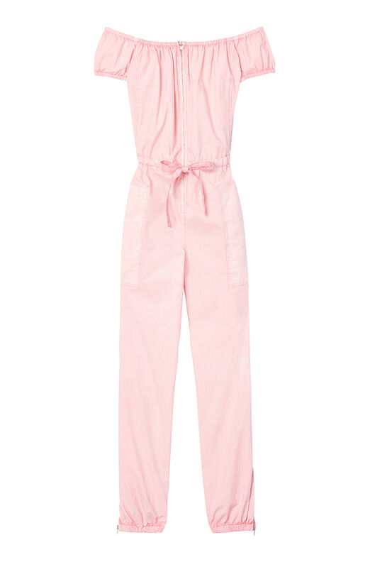 La Vie Off-The-Shoulder Parachute Poplin Jumpsuit