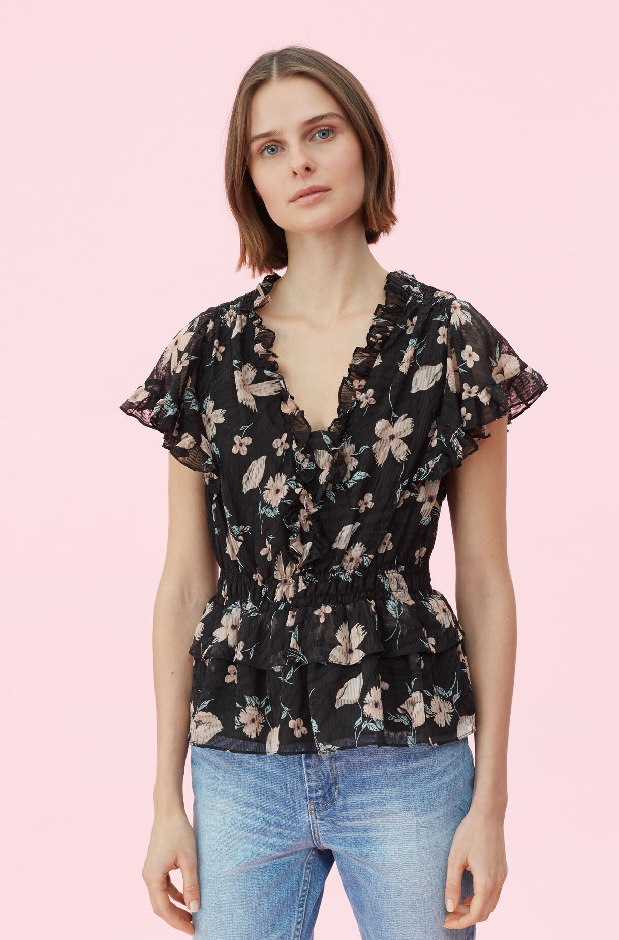 Daniella Floral Silk Burnout Top, , large