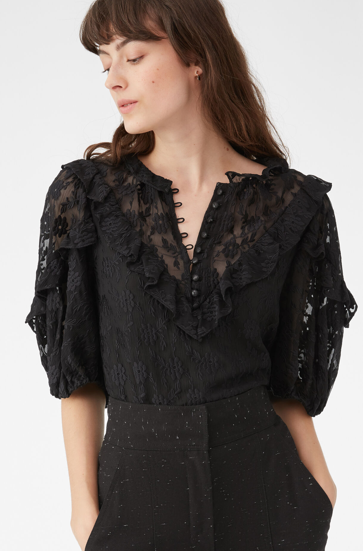 Floral Vine Embroidered Ruffle Top, , large