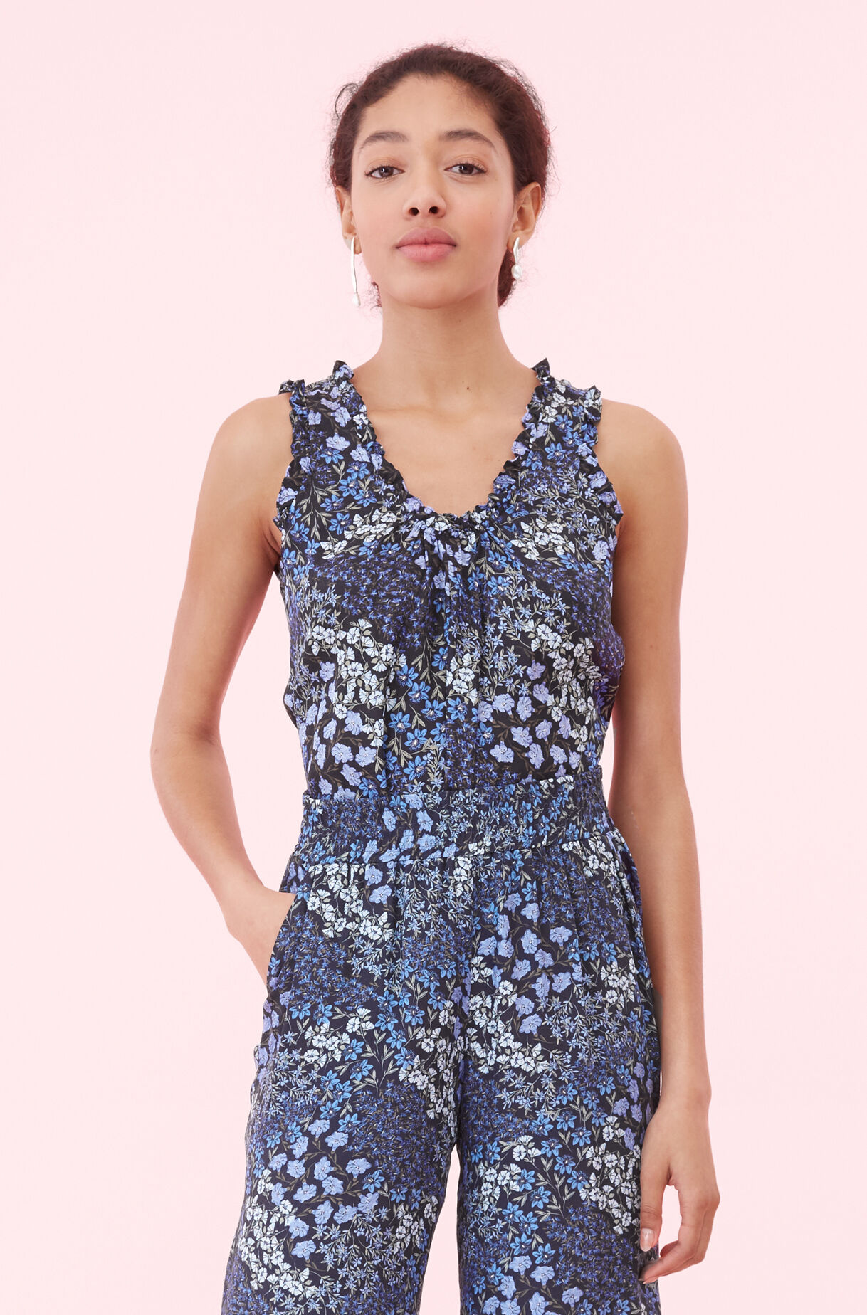 Ava Floral Tank, Navy Combo, large