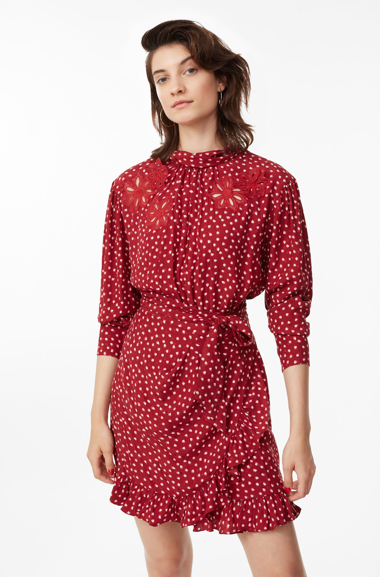 Blurry Heart Silk Embroidered Dress, , large
