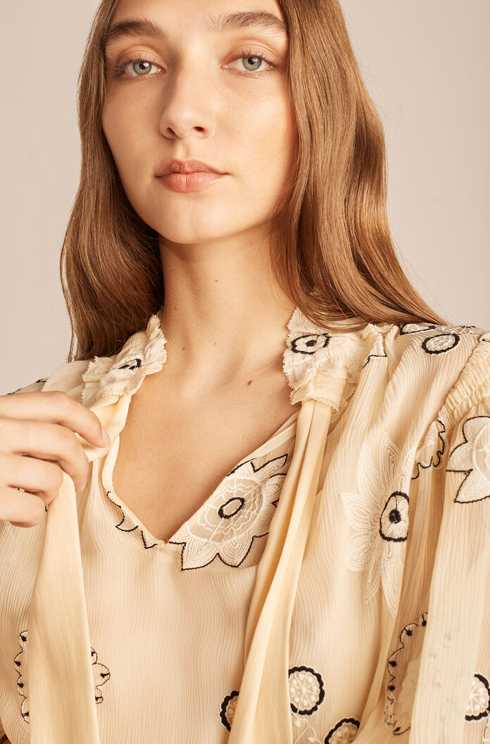 Parasol Embroidered Bow Blouse, Shell, large