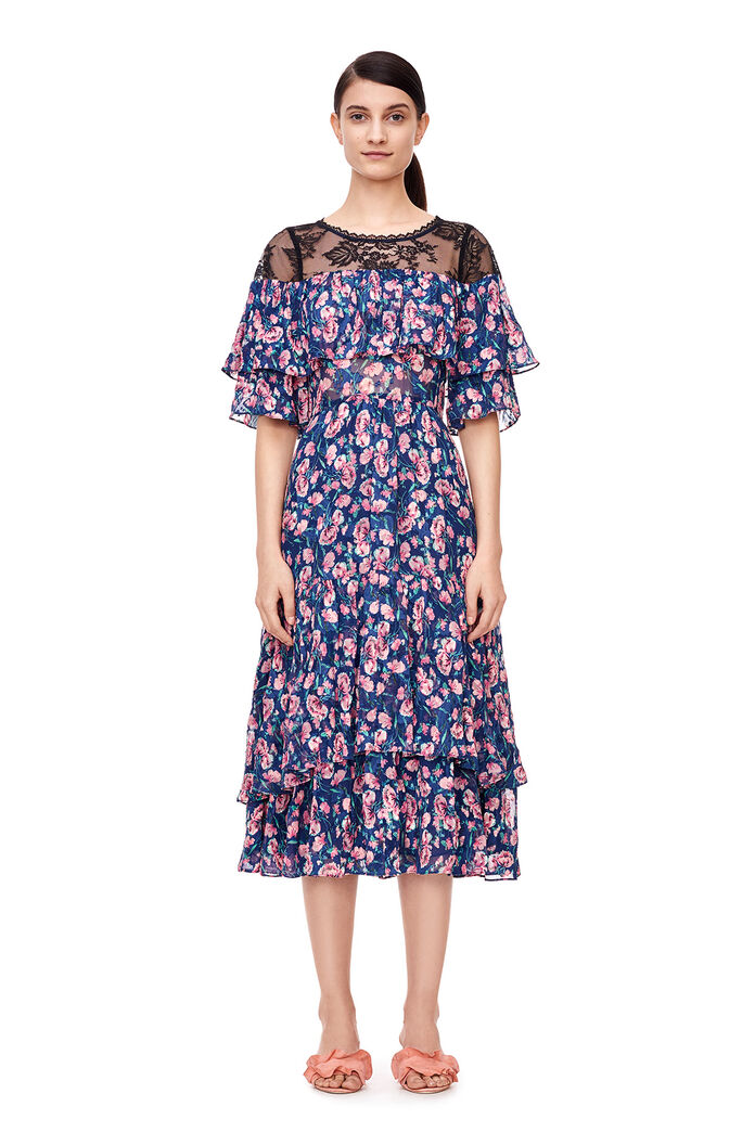 Tea Rose Midi Dress - Royal Combo